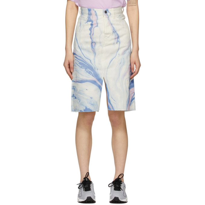 Aries White Denim Marble Print Skirt