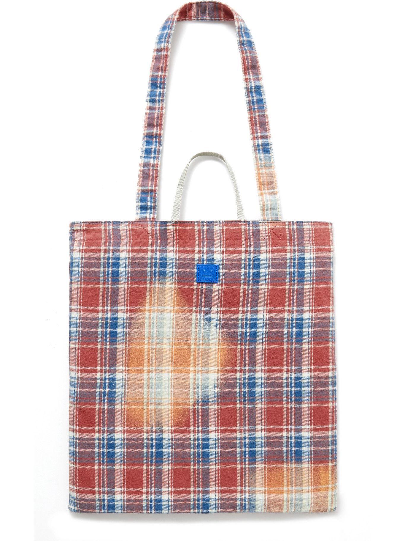 Photo: ACNE STUDIOS - Printed Checked Cotton-Flannel Tote Bag