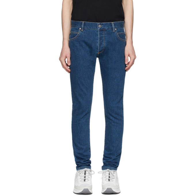Photo: Balmain Blue Slim Embossed Logo Jeans