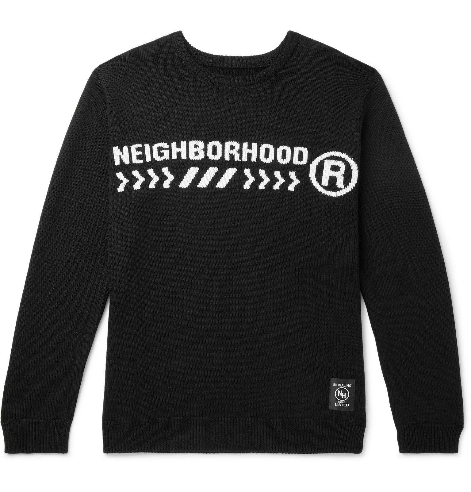 Photo: Neighborhood - Electro Logo-Intarsia Cotton-Blend Sweater - Black