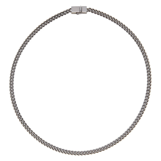 Photo: Tom Wood SSENSE Exclusive Gunmetal Thin Rounded Curb Chain Necklace