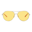 Oliver Peoples Silver and Yellow Rockmore Aviator Sunglasses