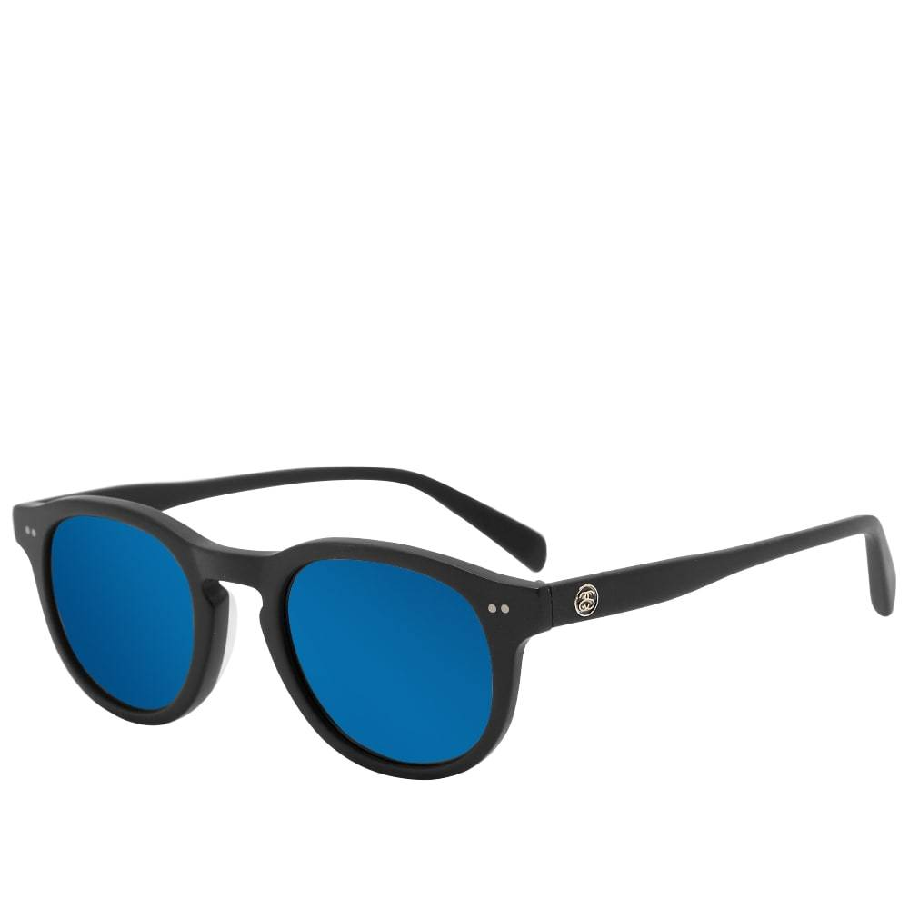 Photo: Stussy Romeo Sunglasses Matte Black & Blue Mirror