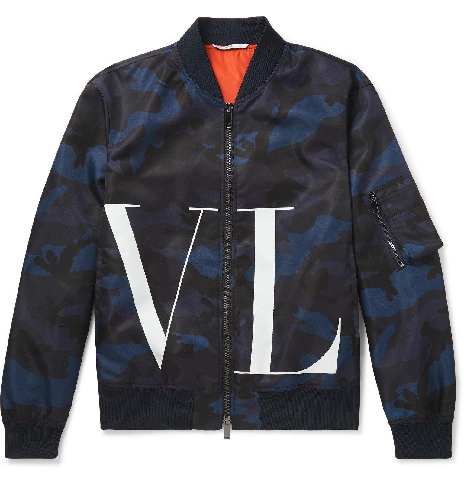 Photo: Valentino - Logo and Camouflage-Print Nylon Bomber Jacket - Blue