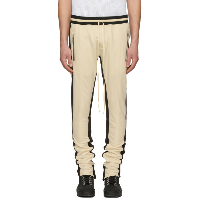 Photo: Fear of God SSENSE Exclusive Off-White Double Stripe Track Pants