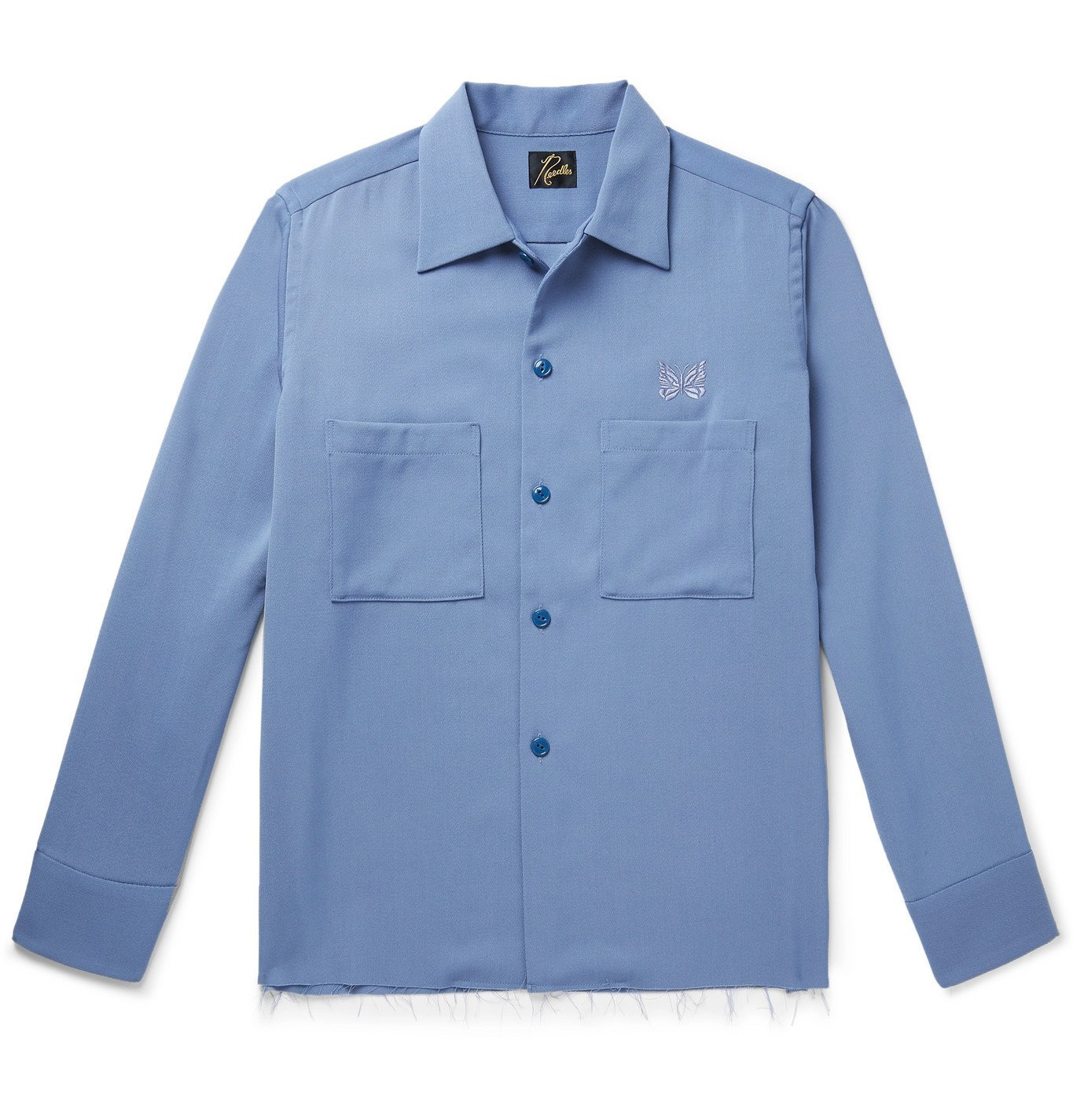 Photo: Needles - Logo-Embroidered Distressed Tech-Wool Overshirt - Blue