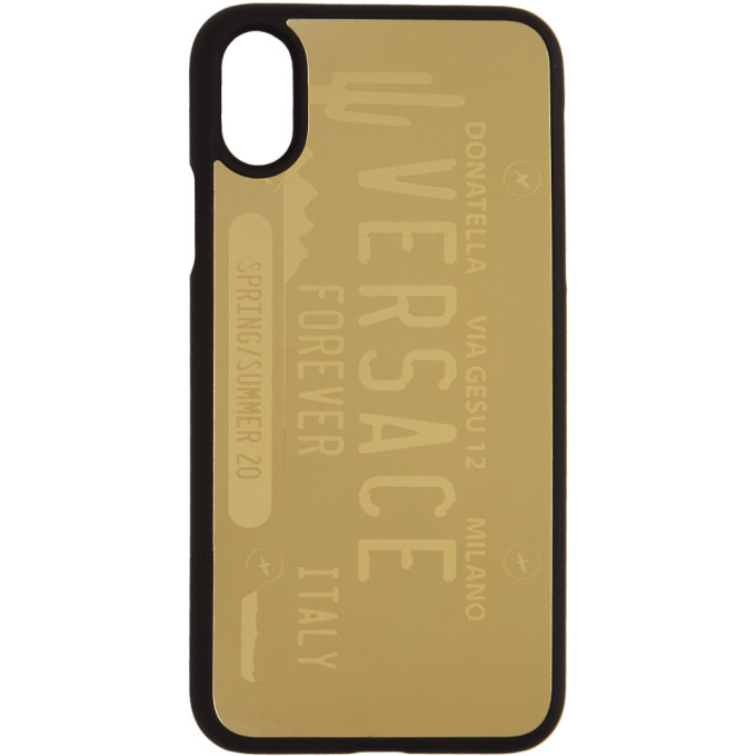Photo: Versace Gold License Plate Logo iPhone X/XS Case