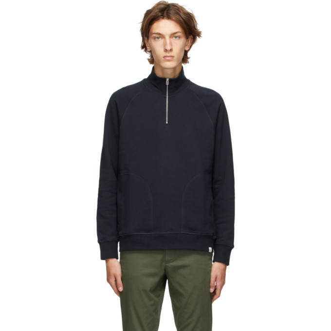 Photo: Norse Projects Navy Alfred Zip-Up Sweater