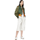 Sacai White and Green Cropped Wrap Jeans