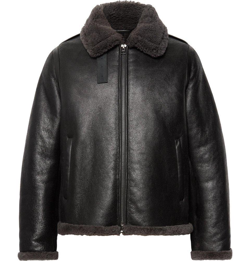 Photo: Acne Studios - Shearling-Trimmed Leather Jacket - Black
