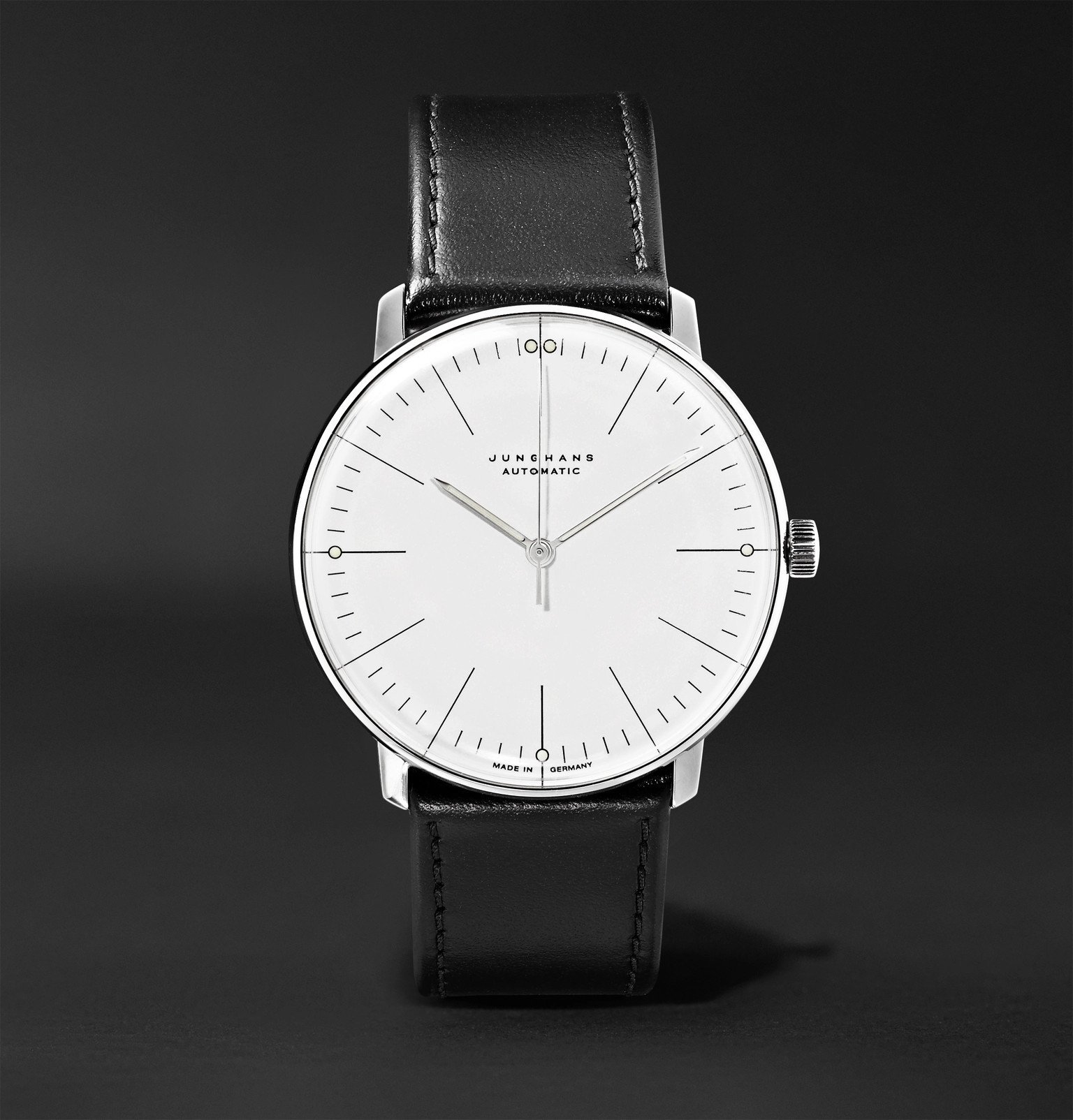 Photo: Junghans - Max Bill Automatic 38mm Stainless Steel and Leather Watch, Ref. No. 027/3501.00 - White