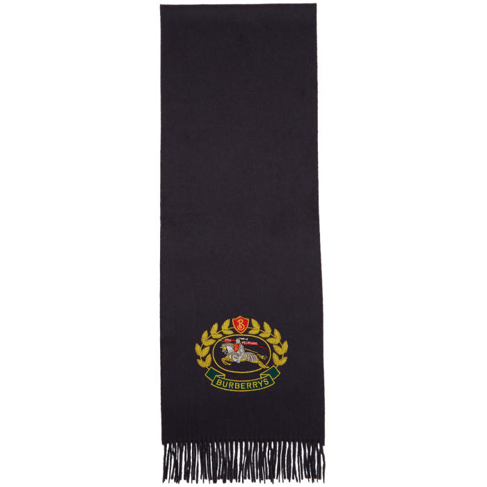 Photo: Burberry Navy Cashmere Large Crest Scarf