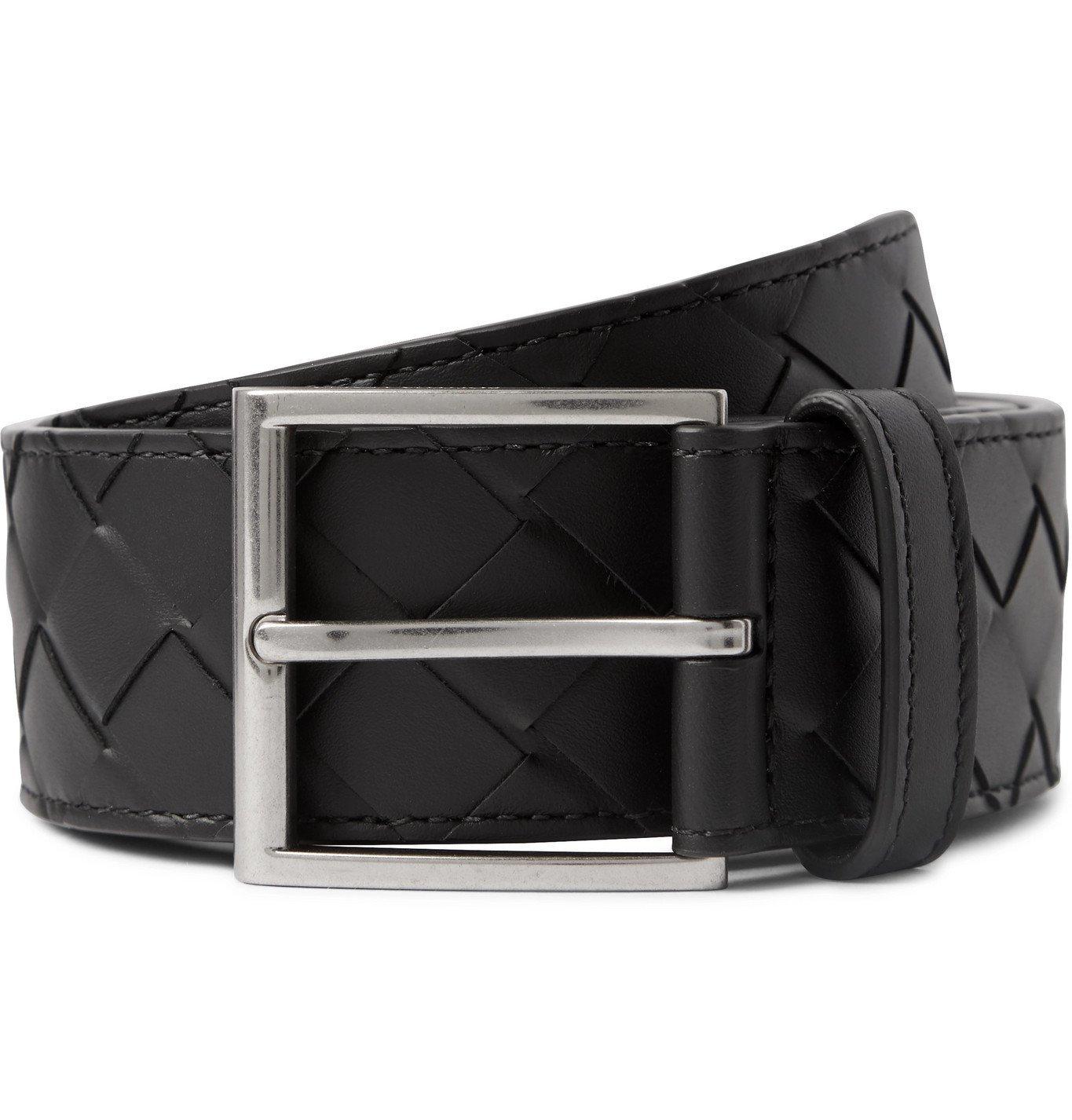 Photo: Bottega Veneta - 4cm Intrecciato Leather Belt - Black