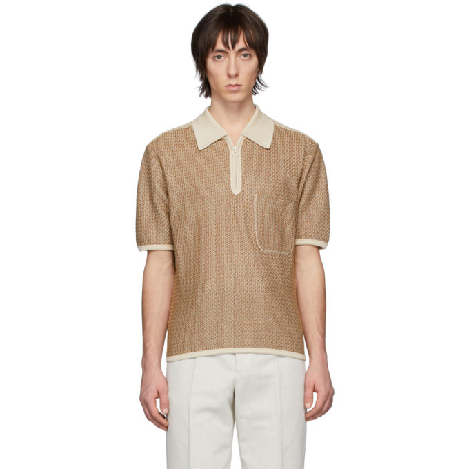 Photo: Lemaire Brown and Off-White Knitted Polo
