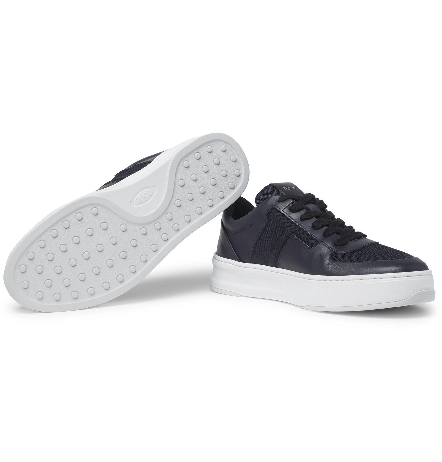 Tod's - Cassetta Leather and Mesh Sneakers - Blue
