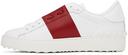 Valentino Garavani White & Red Back Studded Open Sneakers