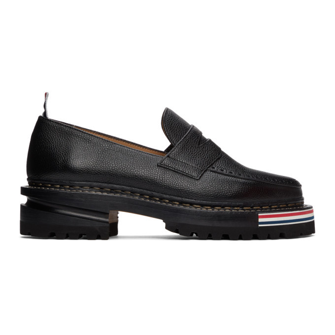 Photo: Thom Browne Black Hiking Penny Loafers