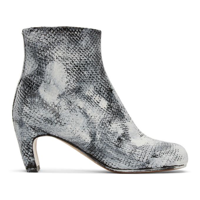 Photo: Maison Margiela Black and White Python Painted Tabi Boots