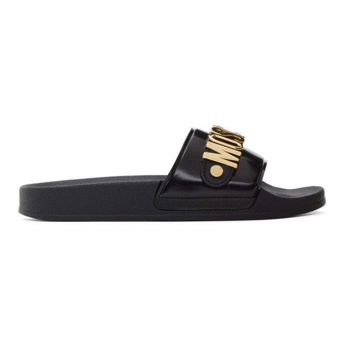 Photo: Moschino Black Metallic Logo Pool Slides