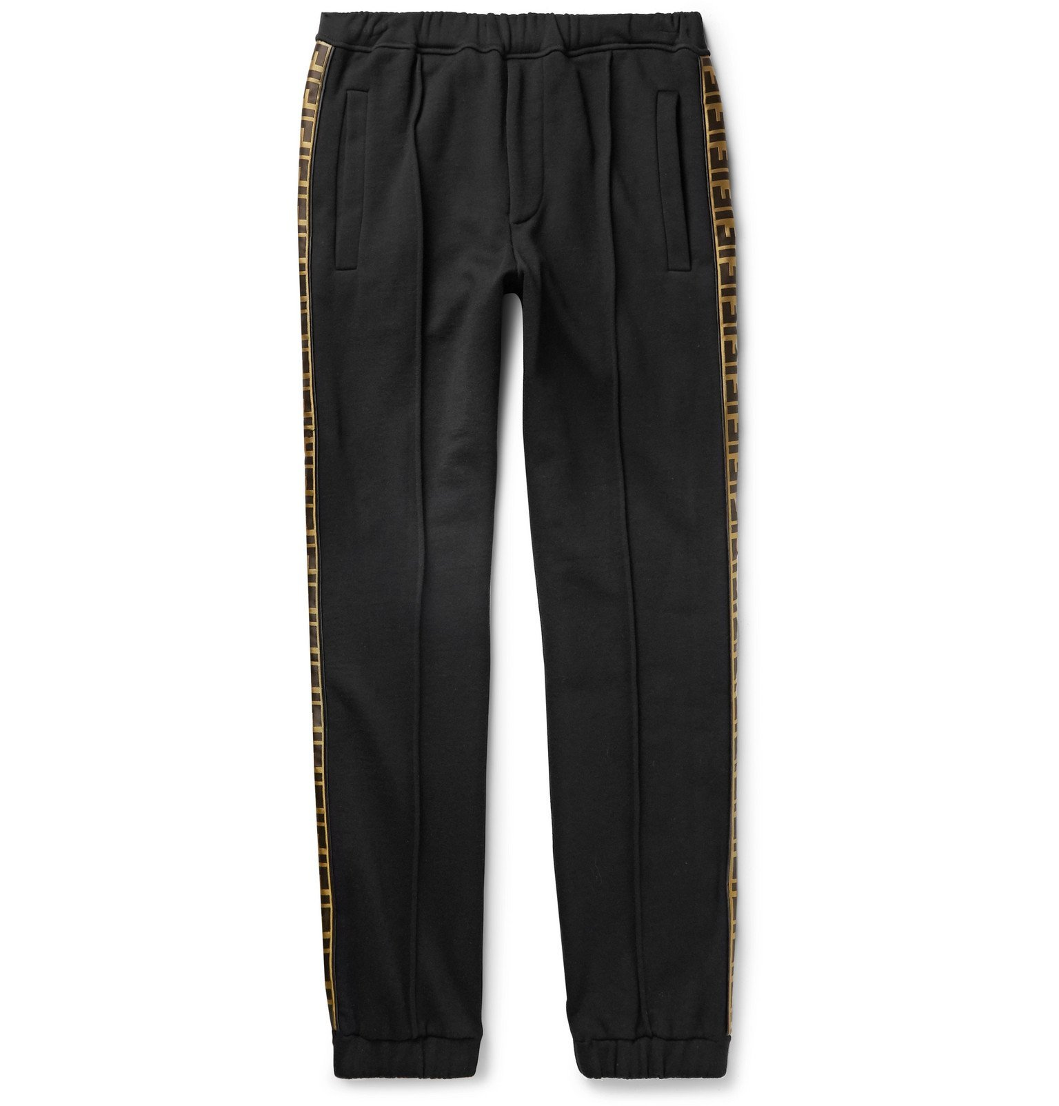 Photo: Fendi - Tapered Logo-Trimmed Wool, Cotton, Silk and Cashmere-Blend Jersey Sweatpants - Black