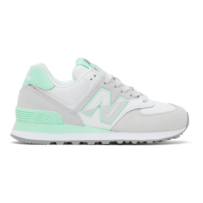 Photo: New Balance Grey and Green 574 Sneakers