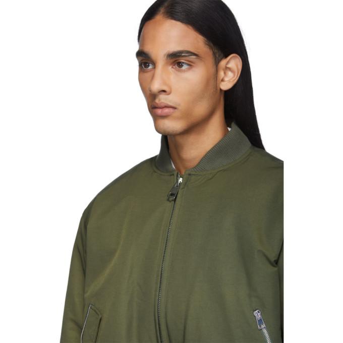 Bottega Veneta Green Woven Bomber Jacket