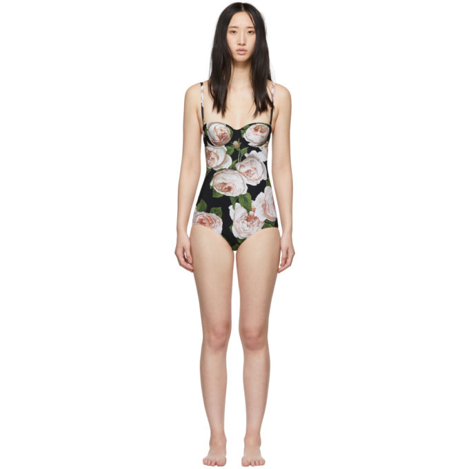 Photo: Dolce and Gabbana Black Rose One-Piece Swimsuit