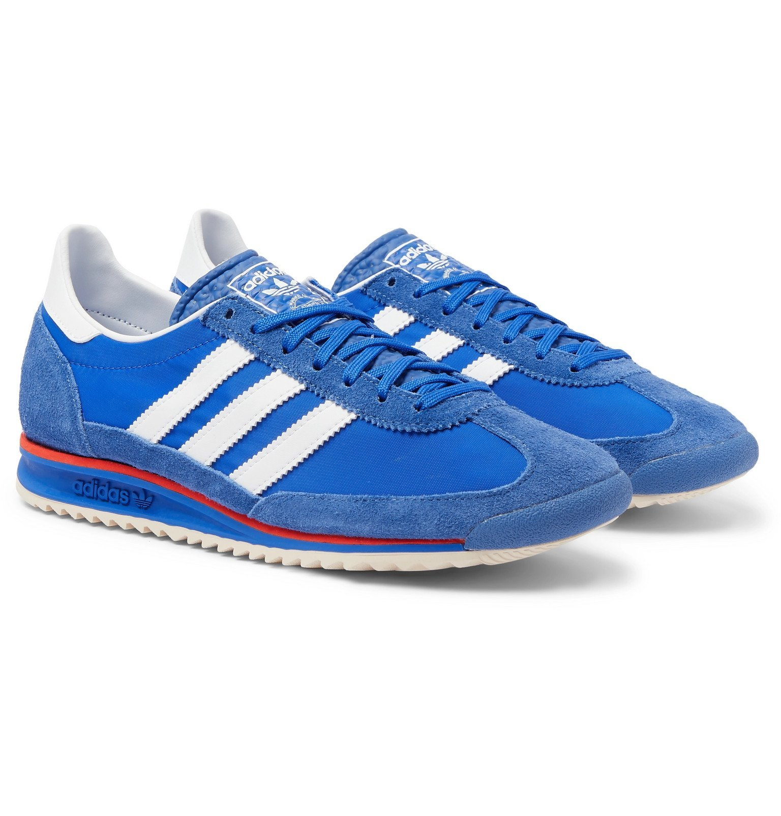 adidas Originals - SL 72 Faux Leather, Faux Suede and Shell Sneakers - Blue