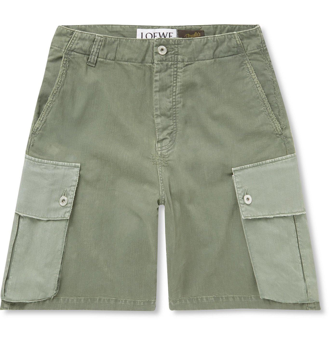 Photo: Loewe - Paula's Ibiza Colour-Block Wide-Leg Cotton Cargo Shorts - Green