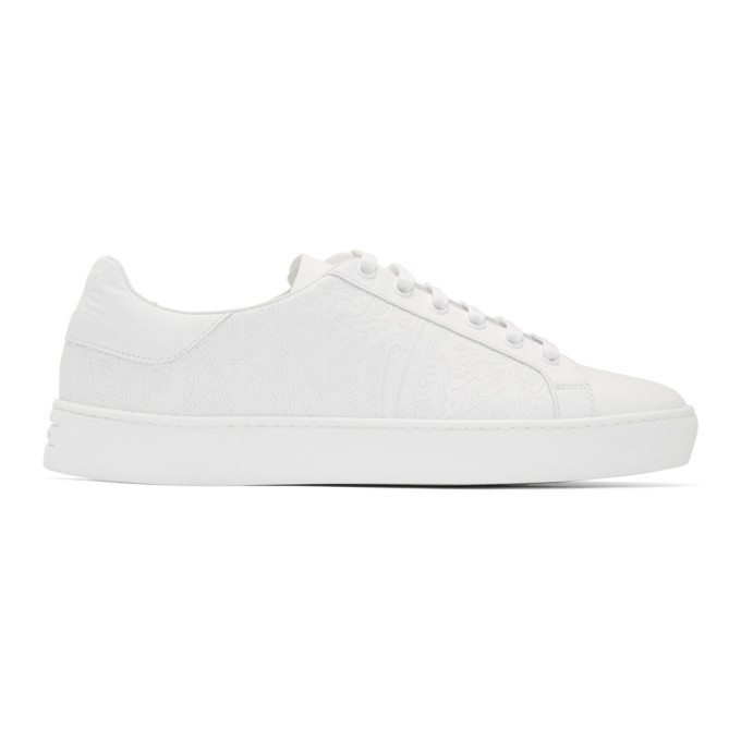 Photo: Etro White Calfskin Paisley Sneakers
