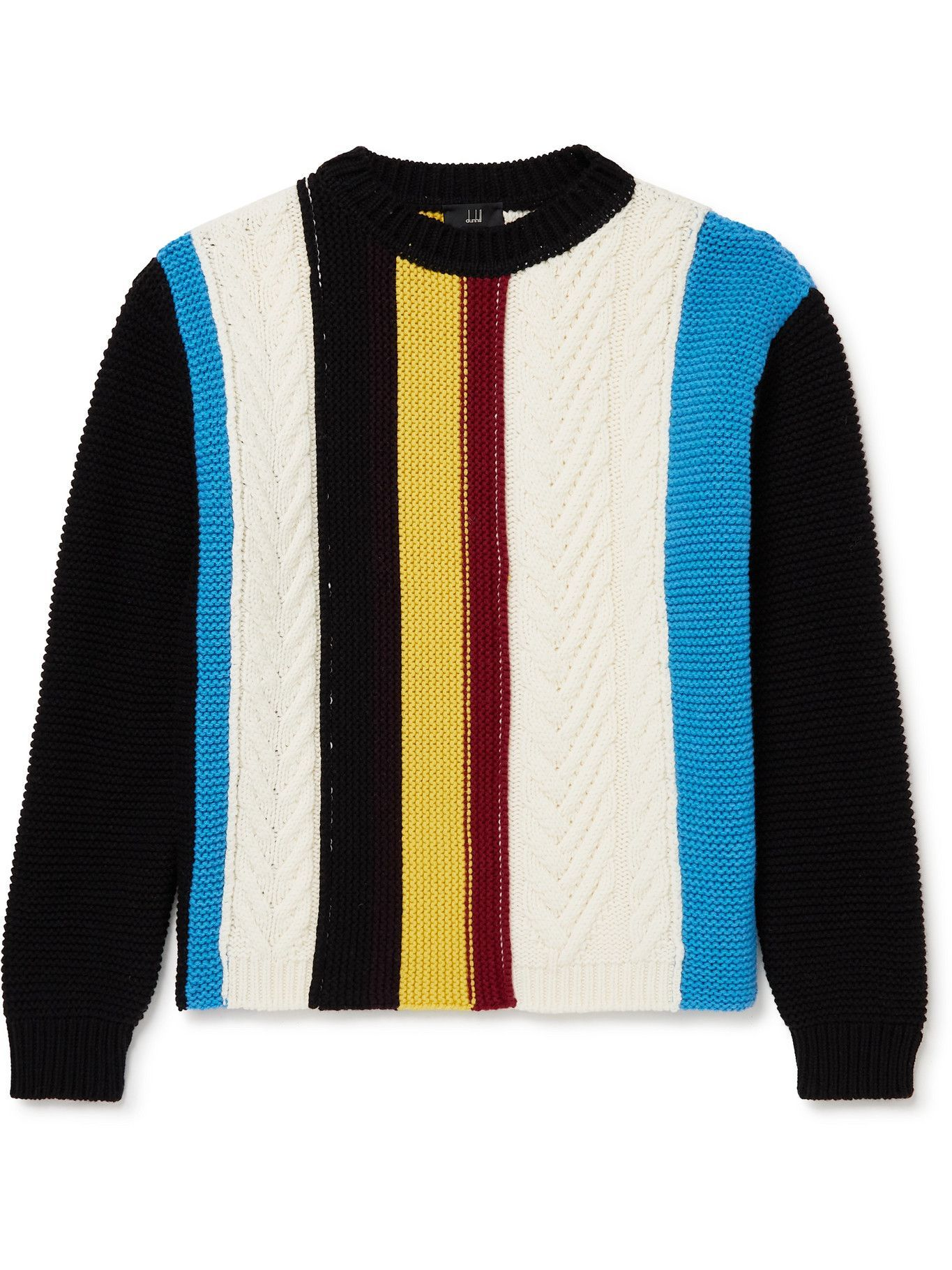 Photo: Dunhill - Striped Ribbed Cable-Knit Wool Sweater - Black