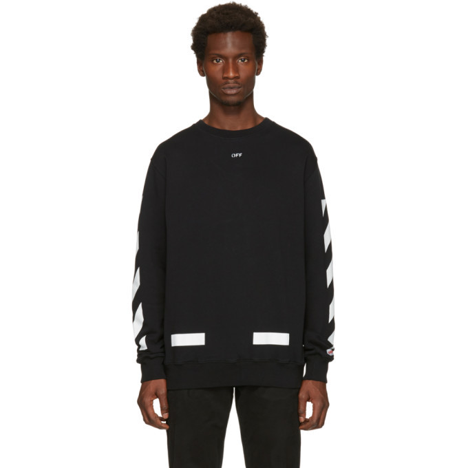 Photo: Off-White Black Diagonal Arrows Crewneck Sweatshirt