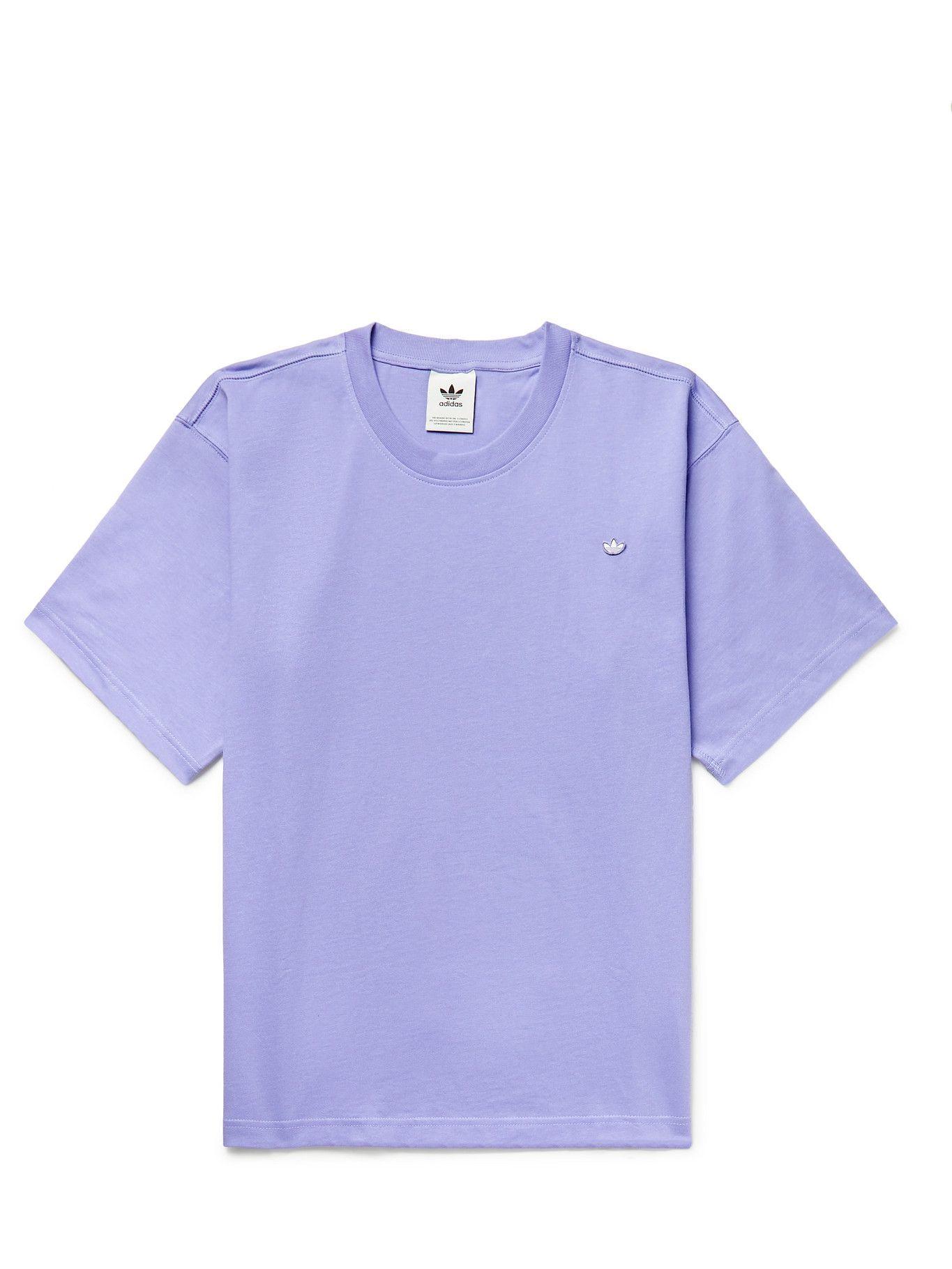 Photo: ADIDAS ORIGINALS - Adicolor Logo-Appliquéd Organic Cotton-Jersey T-Shirt - Purple