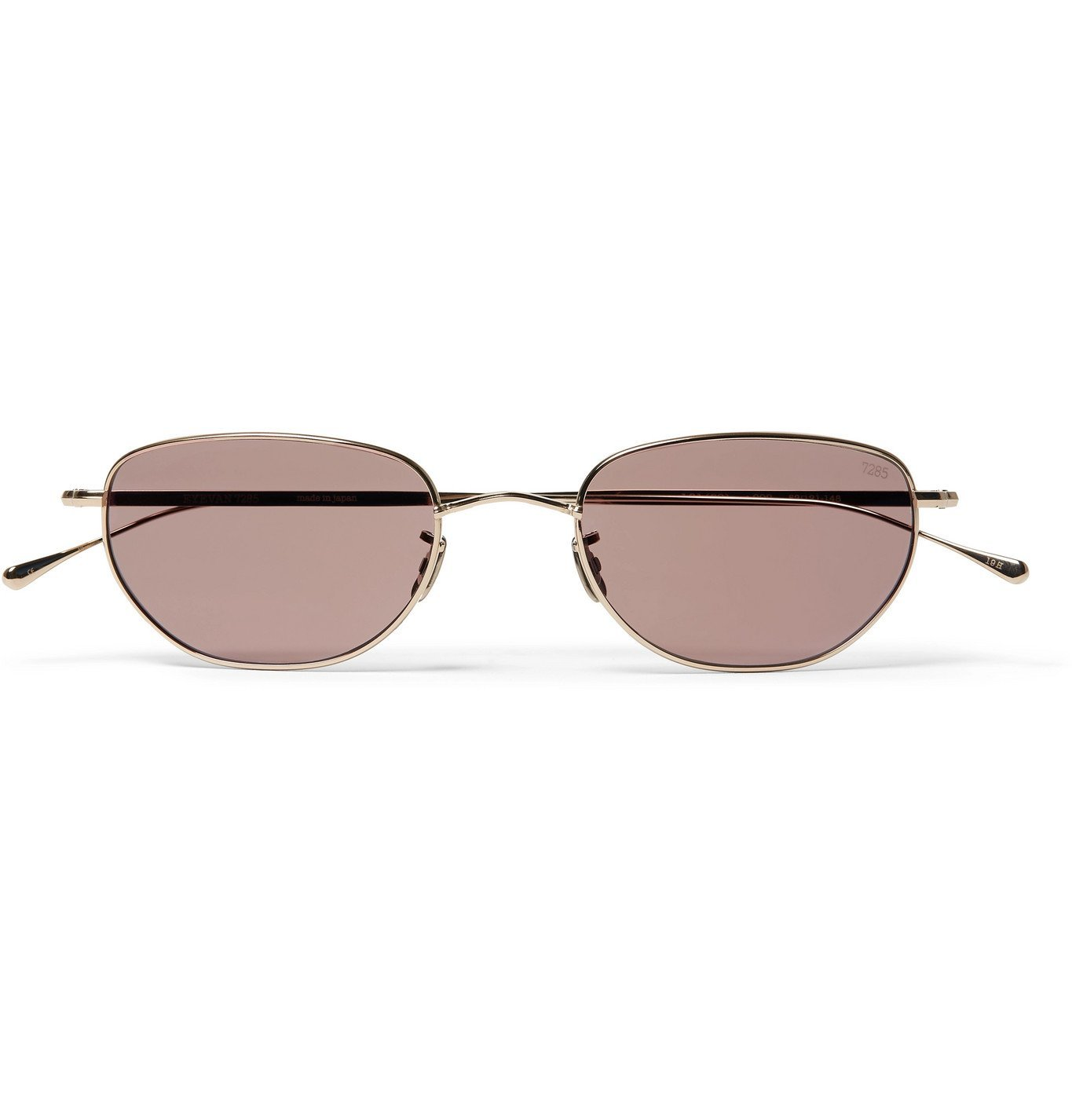 Photo: Eyevan 7285 - Oval-Frame Gold-Tone Titanium Sunglasses - Silver