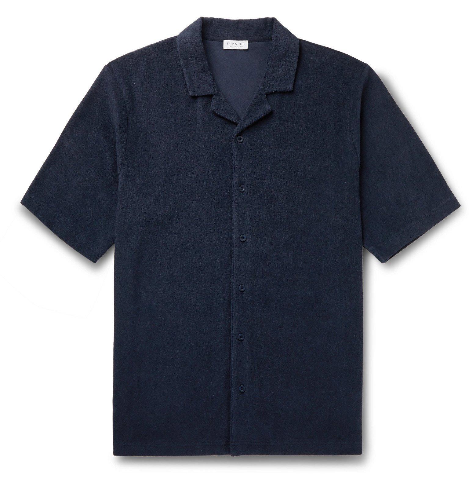 Sunspel - Camp-Collar Organic Cotton-Terry Shirt - Blue