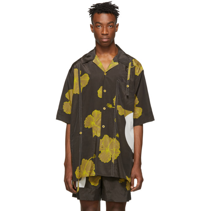 Photo: 3.1 Phillip Lim Brown and Yellow Oversized Hibiscus Floral Souvenir Tunic Shirt
