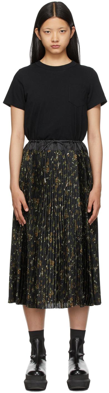 Sacai Black Layered Floral Dress
