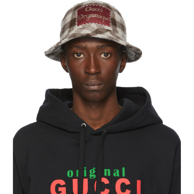 Photo: Gucci White and Brown Wool Gucci Orgasmique Bucket Hat