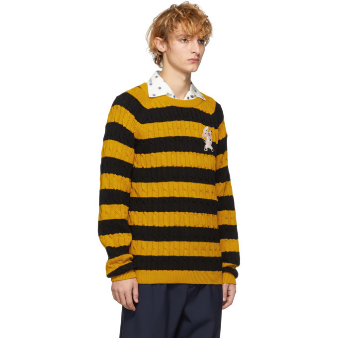 Gucci Black And Yellow Striped Embroidered Pig Sweater Gucci