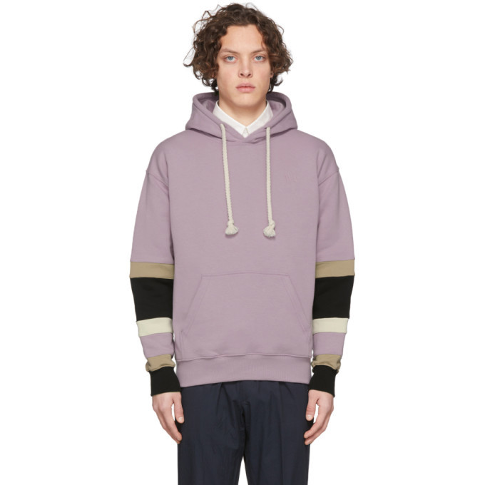 Photo: JW Anderson Pink Colorblock Sleeves Logo Hoodie