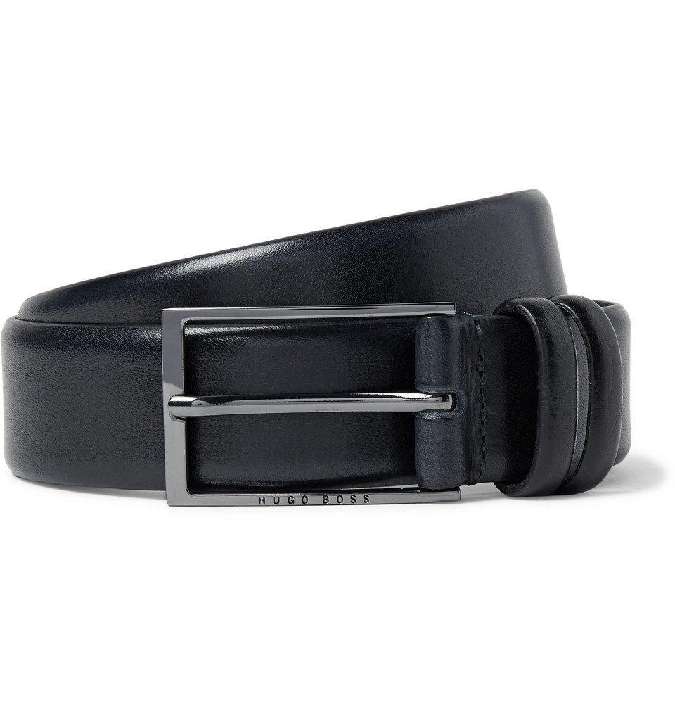Photo: Hugo Boss - 3.5cm Black Carmello Leather Belt - Navy