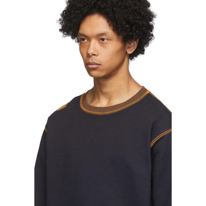 Phlemuns Black Contrast Stitch Sweatshirt