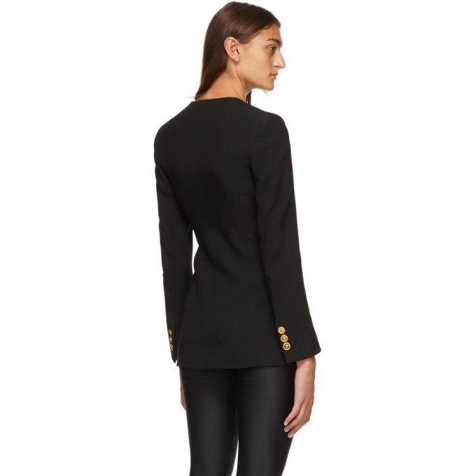 Versace Black Square Collar Double-Breasted Blazer