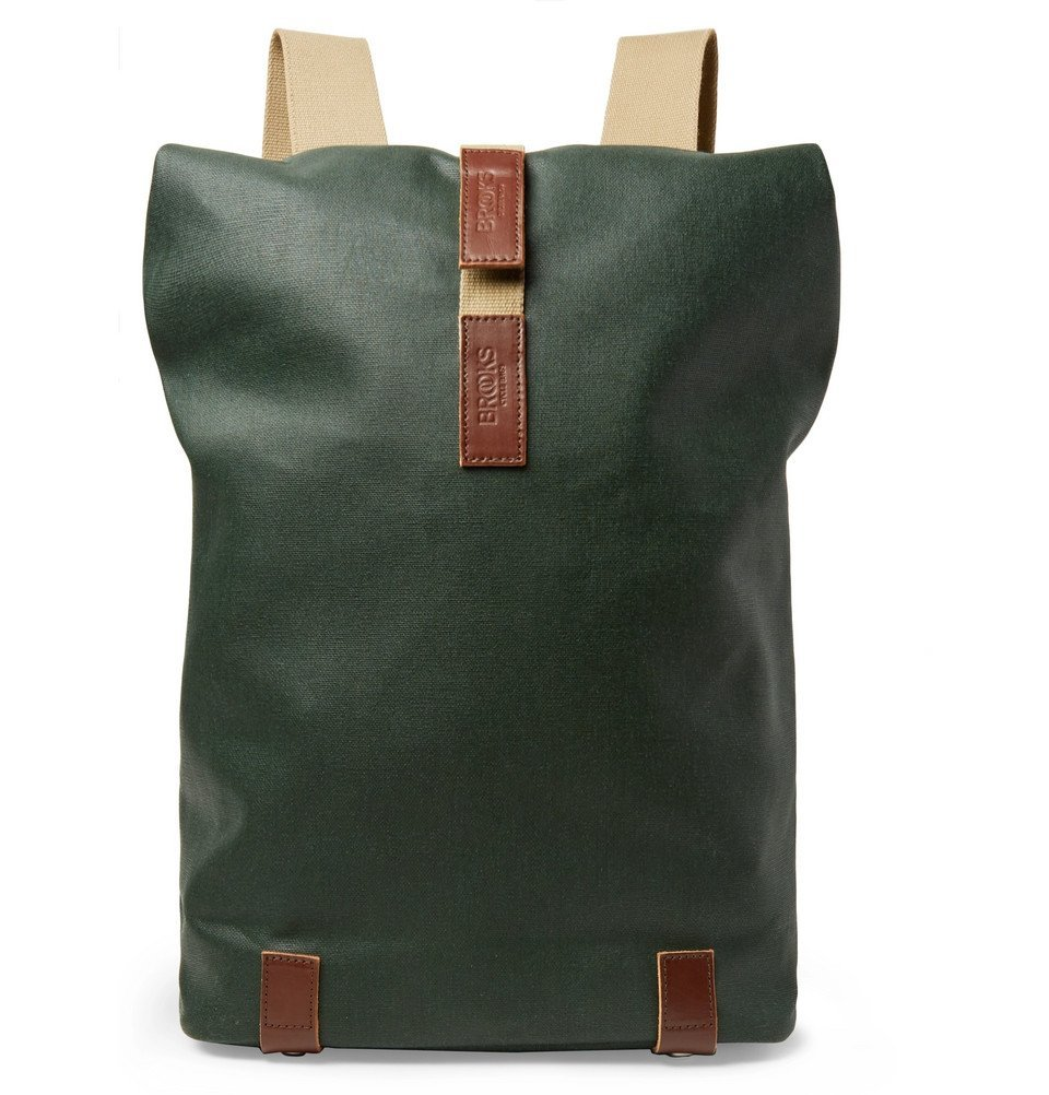 Photo: Brooks England - Pickwick Small Leather-Trimmed Cotton-Canvas Backpack - Green