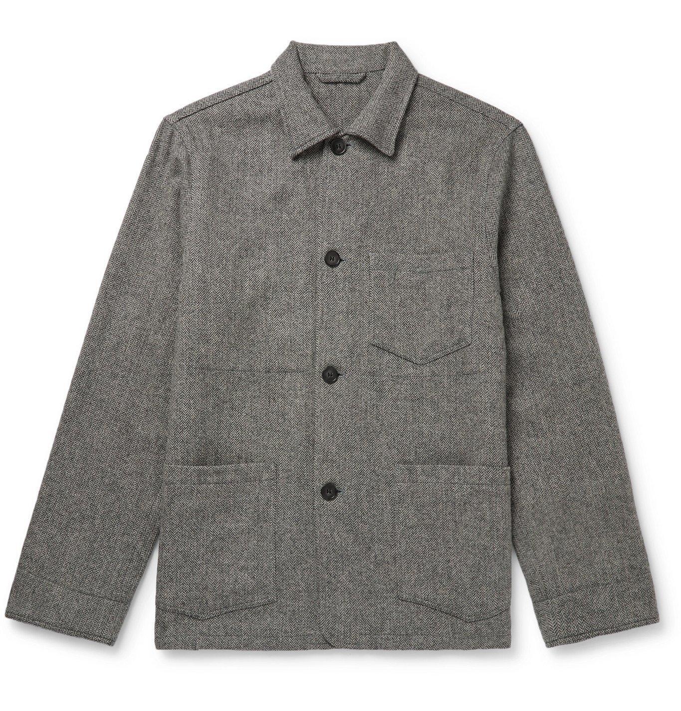 Photo: Officine Generale - Herringbone Wool Blouson Jacket - Gray