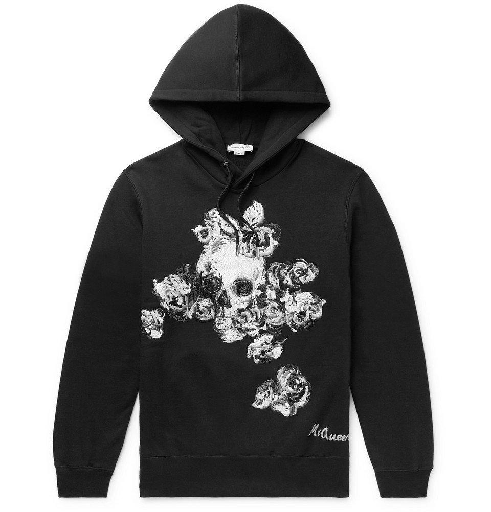Photo: Alexander McQueen - Embroidered Fleece-Back Cotton-Jersey Hoodie - Black