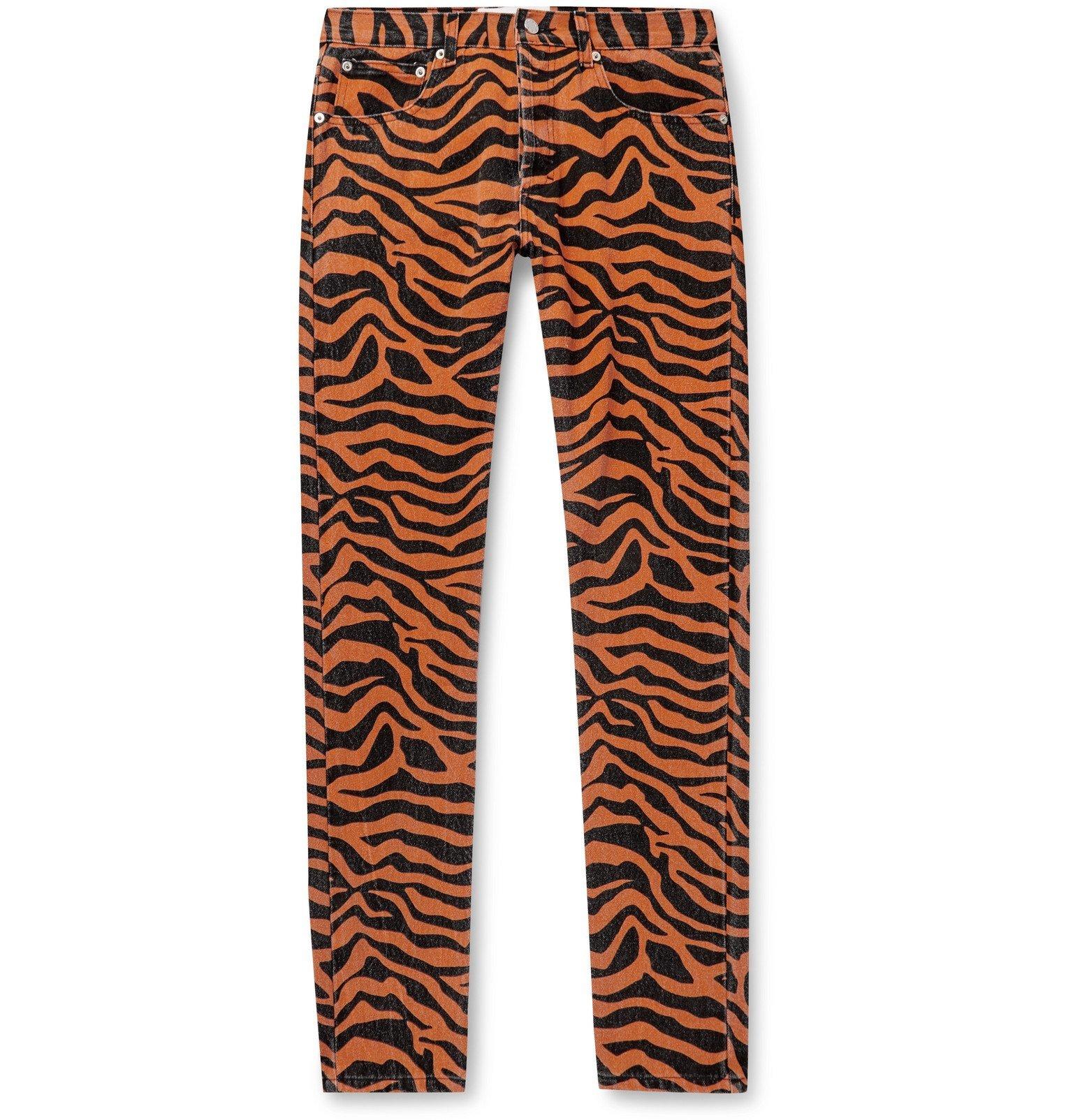 Photo: Noon Goons - Suburbia Skinny-Fit Tiger-Print Denim Jeans - Orange