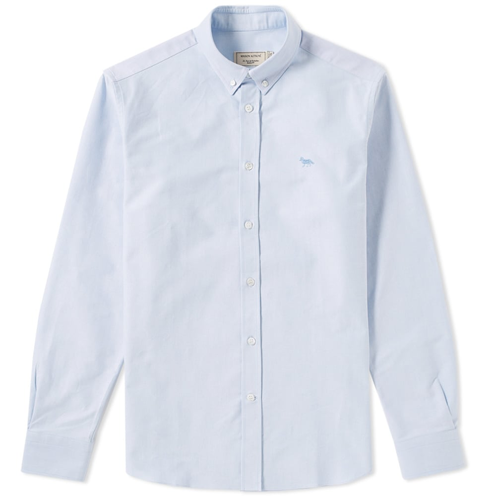 Photo: Maison Kitsuné Button Down Classic Embroidered Fox Shirt Blue
