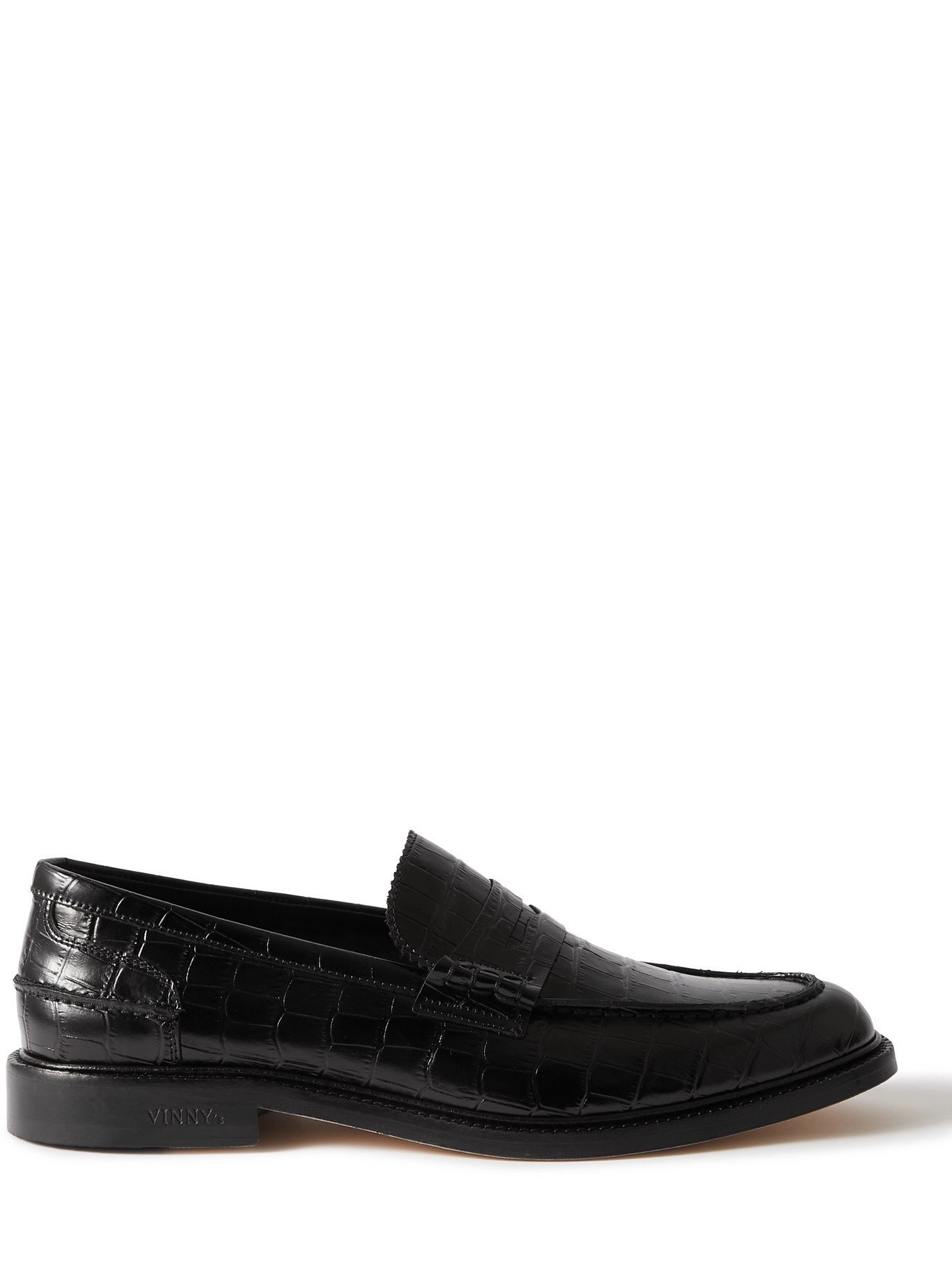 Photo: VINNY'S - Romeo Croc-Effect Leather Penny Loafers - Black - EU 40