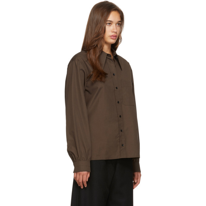 Lemaire Brown Pointed Collar Shirt